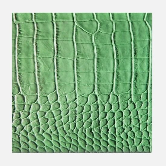 Faux Green crocodile skin pattern Tile Coaster