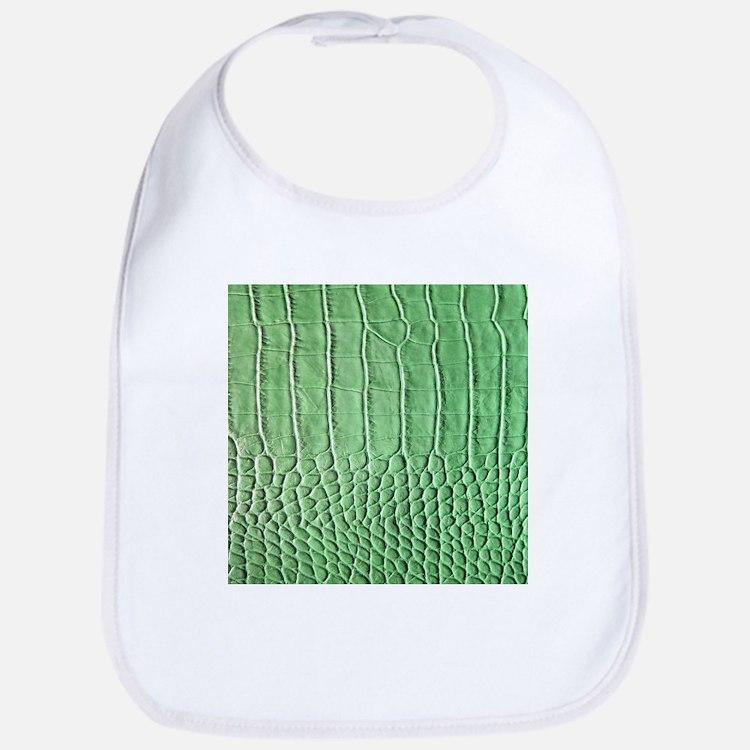 Faux Green crocodile skin pattern Bib