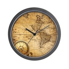 voyage compass vintage world map  Wall Clock