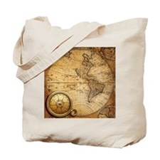 voyage compass vintage world map  Tote Bag