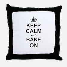 Keep Calm and Bake on - Black Throw Pillow