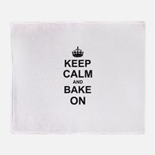 Keep Calm and Bake on - Black Throw Blanket