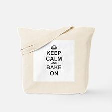 Keep Calm and Bake on - Black Tote Bag