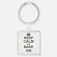 Keep Calm and Bake on - Black Keychains