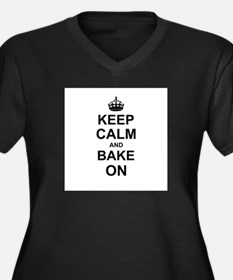 Keep Calm and Bake on - Black Plus Size T-Shirt