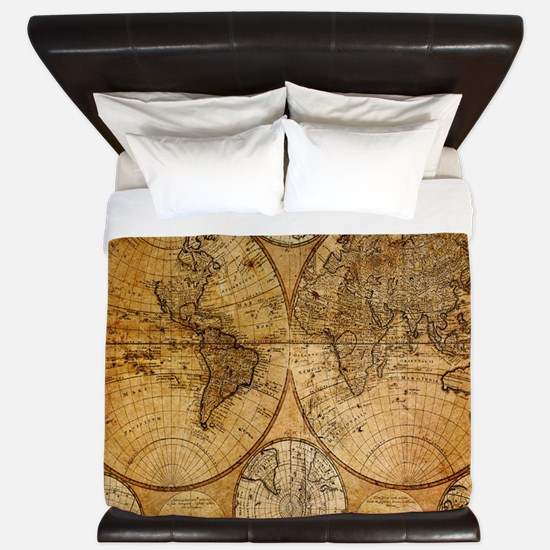 voyage compass vintage world map King Duvet