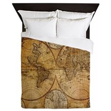 voyage compass vintage world map Queen Duvet