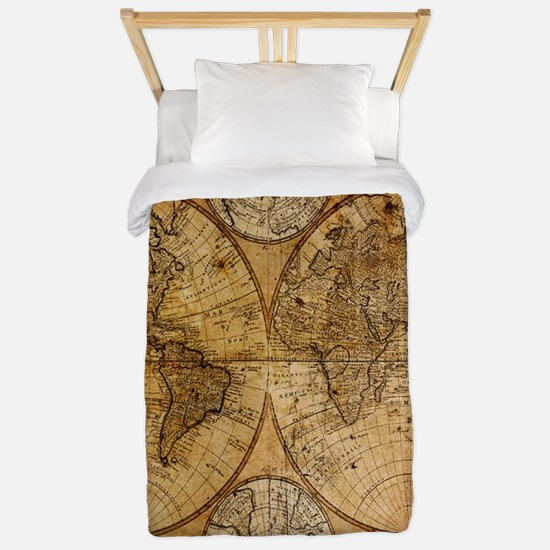 voyage compass vintage world map Twin Duvet