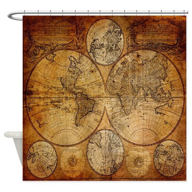 World Map Shower Curtains – Map World Shower Curtain
