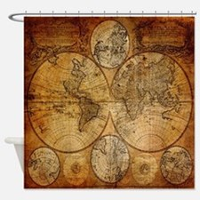 voyage compass vintage world map Shower Curtain