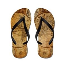 voyage compass vintage world map Flip Flops