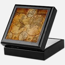 voyage compass vintage world map Keepsake Box