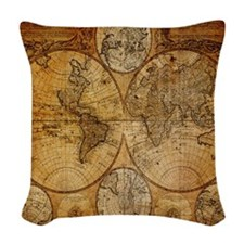voyage compass vintage world m Woven Throw Pillow