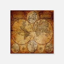 """voyage compass vintage worl Square Sticker 3"""" x 3"""""""