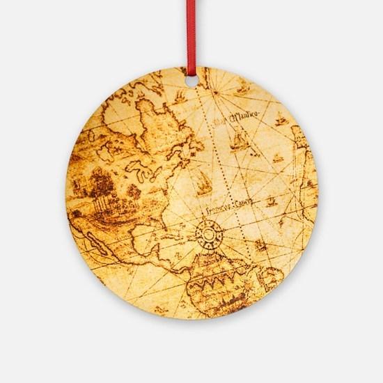 voyage ocean vintage world map Round Ornament