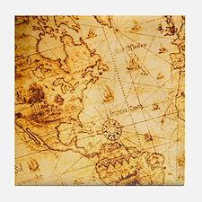 voyage ocean vintage world map Tile Coaster
