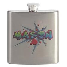 first name Mason skull o graffiti style Flask
