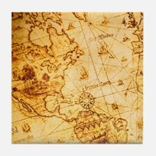 cool old fashion world map Tile Coaster