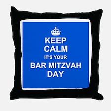 Keep Calm its your Bar Mitzvah day Throw Pillow