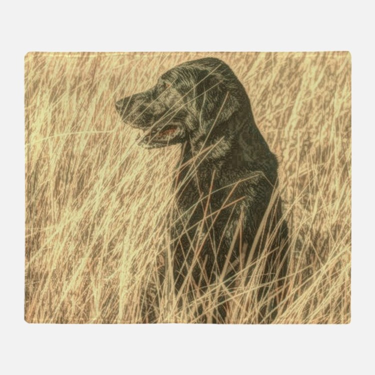 country landscape black labrador Throw Blanket