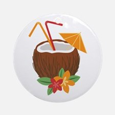 Tropical Coconut Drink Ornament (Round)
