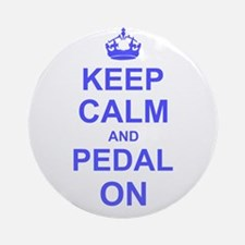 Keep Calm and Pedal on Ornament (Round)