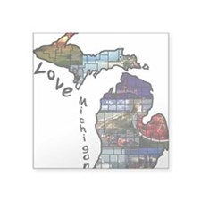 "Love Michigan Square Sticker 3"" X 3"""
