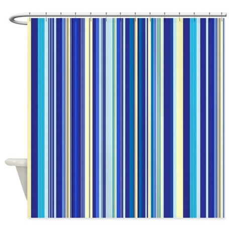 Blue And Yellow Stripes Shower Curtain By Showercurtains1