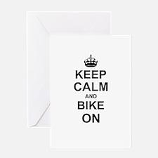 Keep Calm and Bike on Greeting Cards
