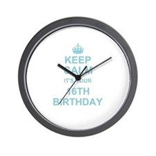 Keep Calm its your 16th Birthday - blue Wall Clock