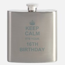 Keep Calm its your 16th Birthday - blue Flask