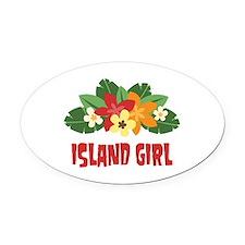 Island Girl Oval Car Magnet