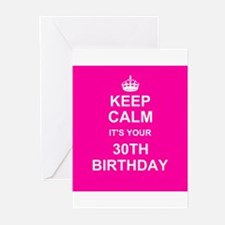 Keep Calm its your 30th Birthday Greeting Cards