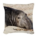 Northern Elephant Seal Woven Throw Pillow