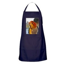 White Bellied Caique Parrot Thinking Apron (dark)