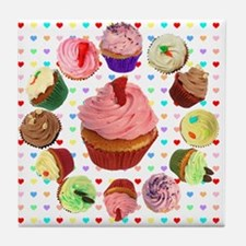 Eileen's Lovehearts Cupcakes Tile Coaster