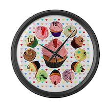Loveheart Cupcakes Large Wall Clock