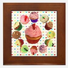 Loveheart Cupcakes Framed Tile