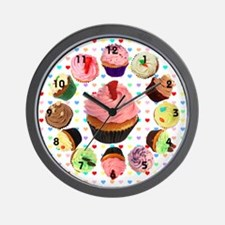 Loveheart Cupcakes Wall Clock