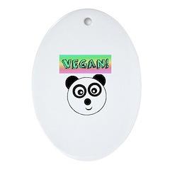 VEGAN! Panda Ornament (Oval)