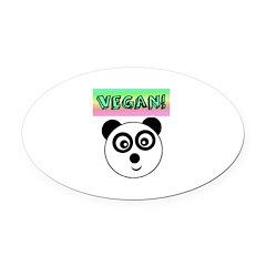 VEGAN! Panda Oval Car Magnet