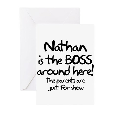 Nathan is the Boss Greeting Cards (Pk of 10)