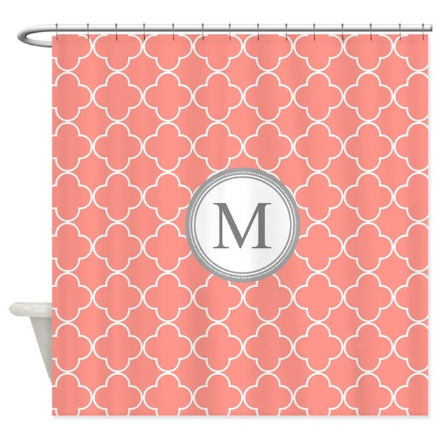 Coral quatrefoil monogram shower curtain by dreamingmindcards for Quatrefoil bathroom decor