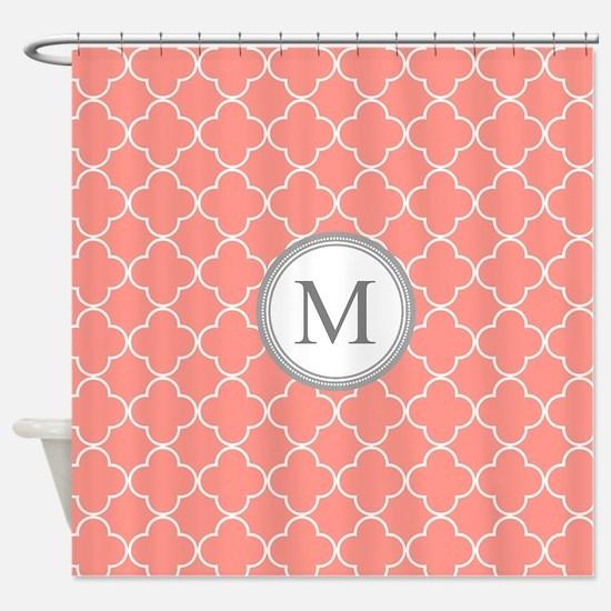 navy coral shower curtain. Coral Quatrefoil Monogram Shower Curtain Curtains  CafePress