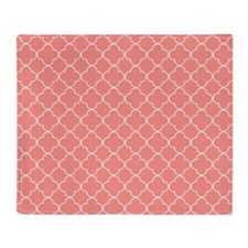 Coral Quatrefoil Pattern Throw Blanket