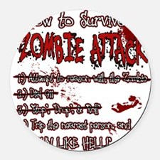 Zombie Attack Survival Round Car Magnet