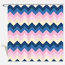 Dark blues and Pinks Chevrons Shower Curtain