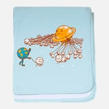 Saturn and its moons baby blanket