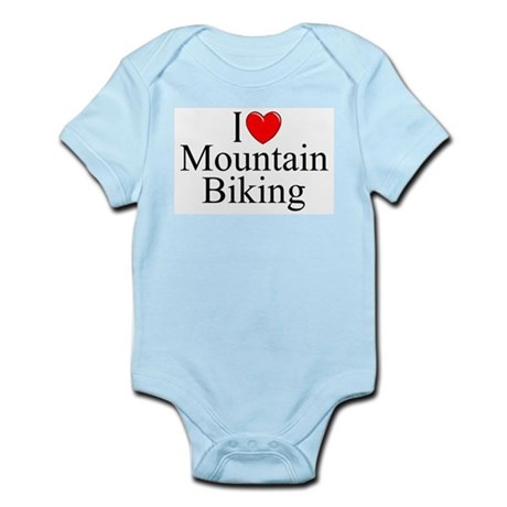 """I Love (Heart) Mountain Biking"" Infant Bodysuit"