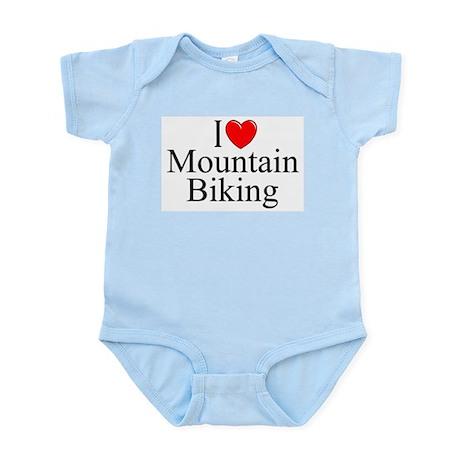 """""""I Love (Heart) Mountain Biking"""" Infant Bodysuit"""